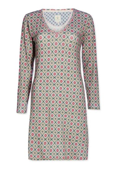 Nightdress round neck Double Check pink