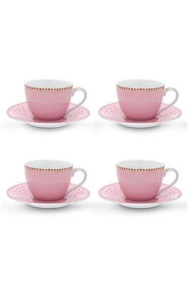 Floral set/4 espresso kop en schotel Bloomingtales Roze