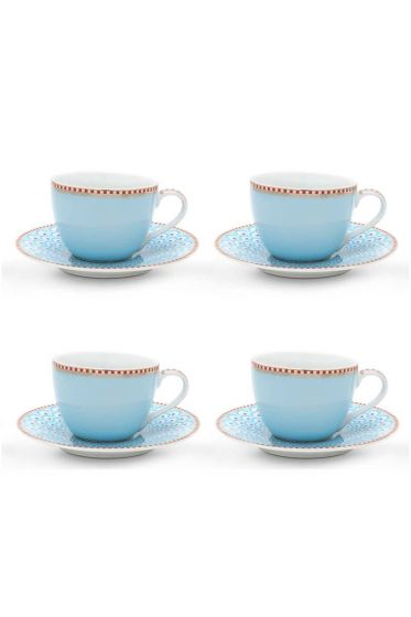 Floral Set/4 Espresso Cups & Saucers Blue