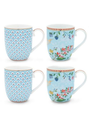 Floral Set/4 Mugs small Blue