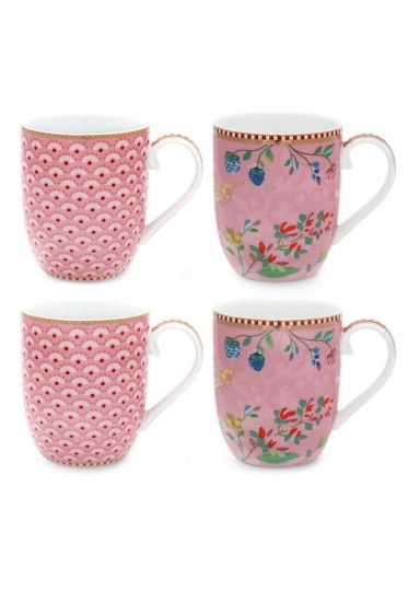 Floral Set/4 Mugs small Pink