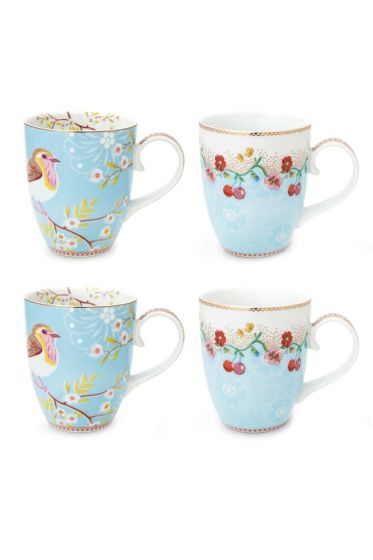 Floral Set/4 Mugs Large Blue