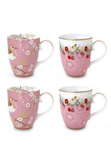 Floral set/4 grote mokken Roze