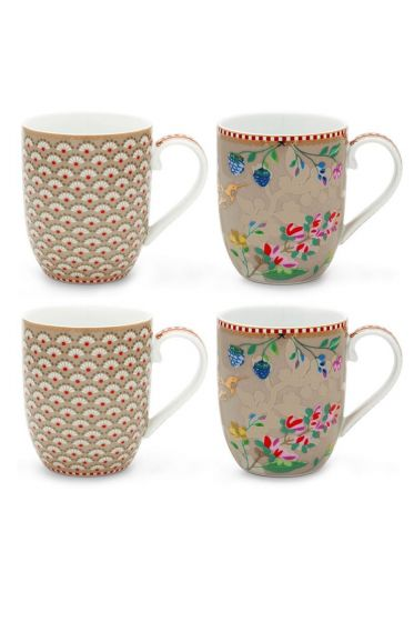 Floral Set/4 Mugs small Khaki