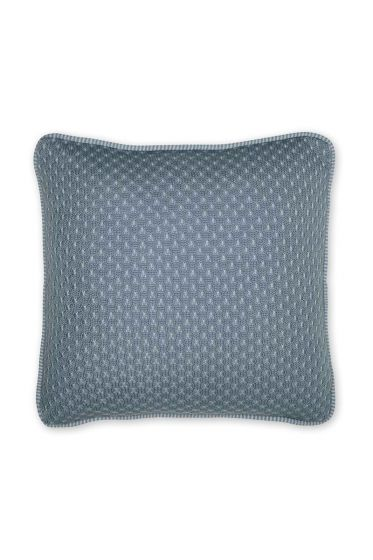 Cushion Cosy knitted square blue