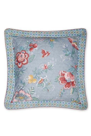 Cushion Berry bird square blue