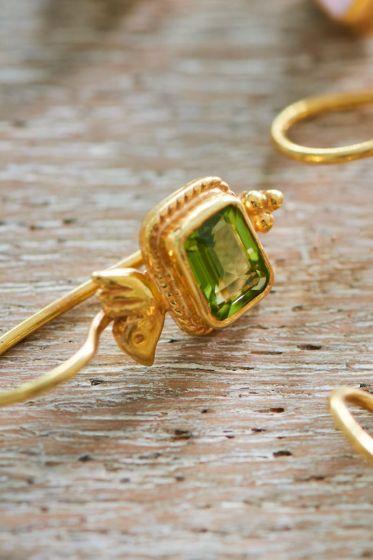 Earrings goldplated Pip's Bird Green