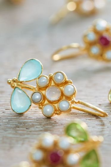 Earrings goldplated Flower of Brighton White Blue