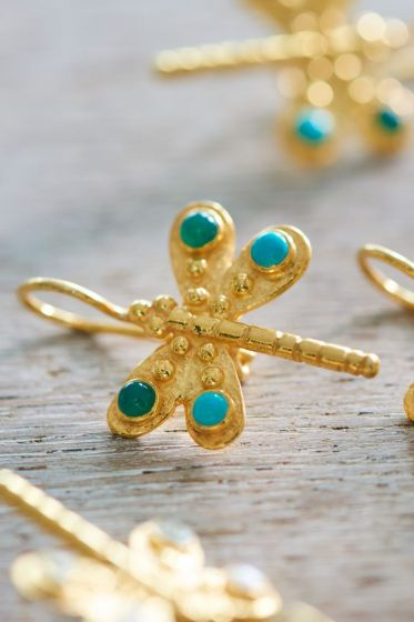Earrings goldplated Dragonfly Delight Blue