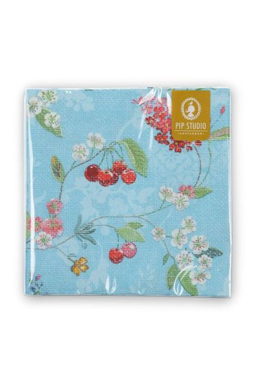 Floral Paper Napkins Hummingbirds Blue
