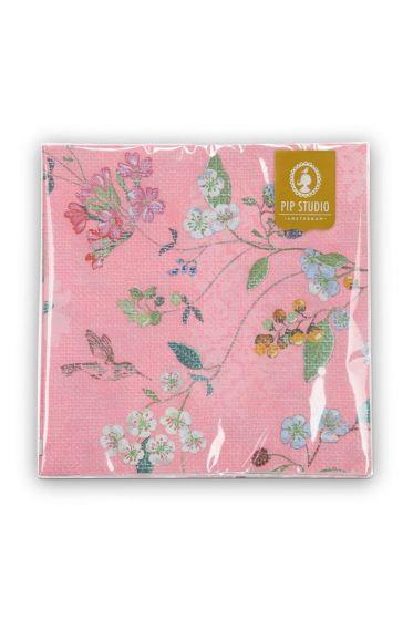 Floral Paper Napkins Hummingbirds Pink