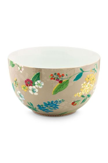 Floral Bowl Hummingbirds 23 cm Khaki