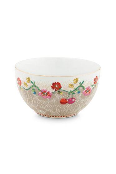 Floral Bowl Cherry 12 cm Khaki