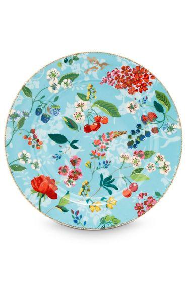 Floral onderbord Hummingbirds 32 cm Blauw