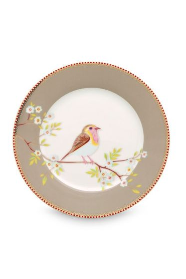 Floral breakfast plate Early Bird 21 cm Khaki