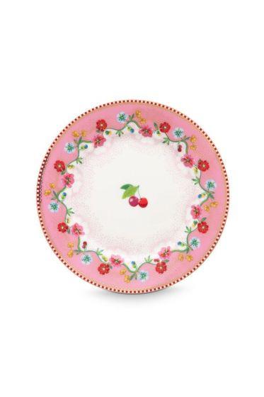 Floral gebaksbordje Cherry 17 cm Roze