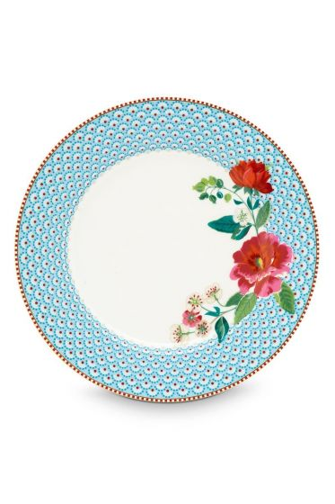 Floral dinner plate Rose 26,5 cm Blue