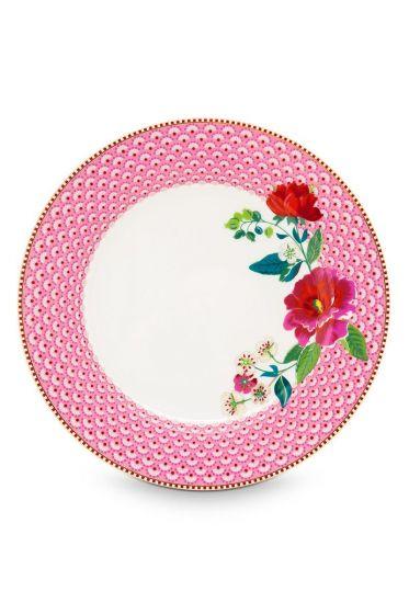 Floral dinerbord Rose 26,5 cm Roze