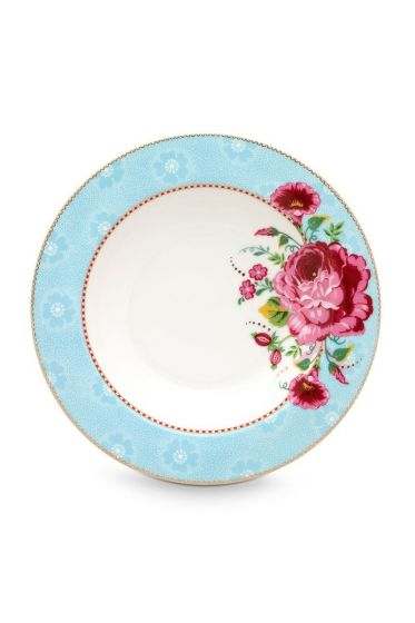 Floral Soup Plate Rose 21,5 cm Blue