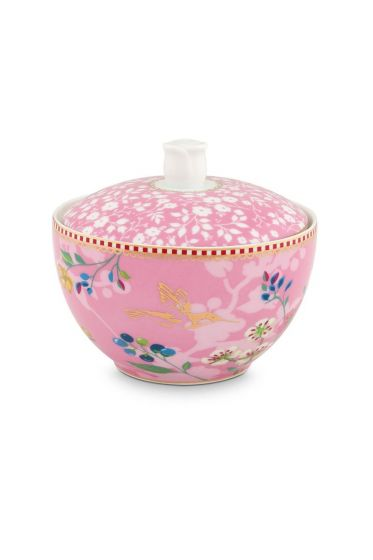 Floral Sugar Bowl Hummingbirds Pink