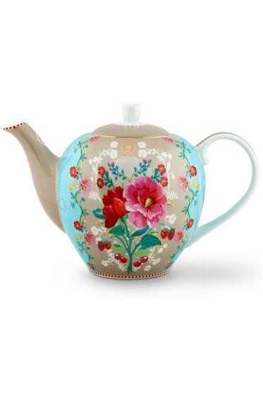 Floral Teapot Large Rose Khaki
