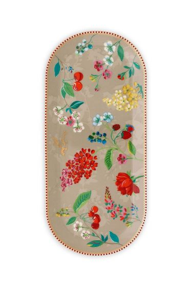 Floral Cake Tray Hummingbirds Khaki