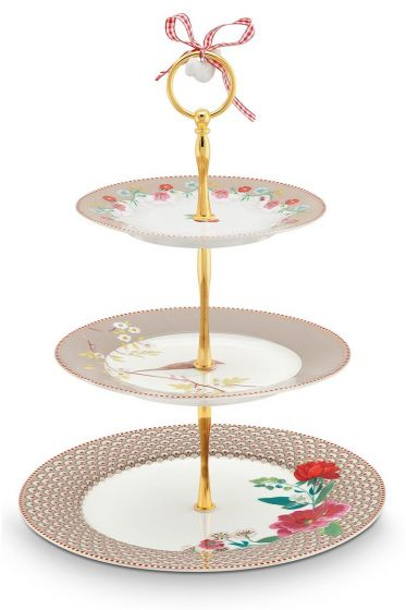 Floral Cake Stand 3 layers khaki