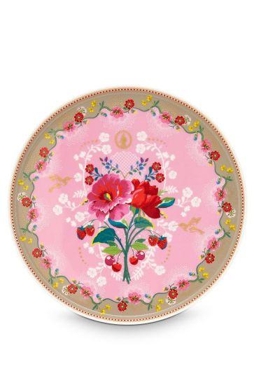 Floral taartplateau Rose roze