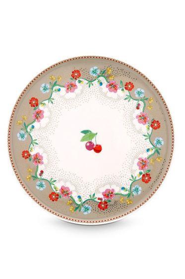 Floral taartplateau mini Cherry khaki