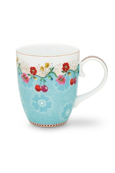Floral Mug Large Cherry Blue