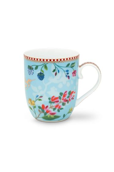Floral Mug Small Hummingbirds Blue
