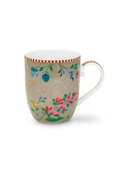 Floral Mug Small Hummingbirds Khaki