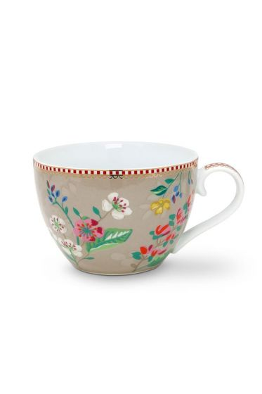 Floral Cup XL Hummingbirds Khaki