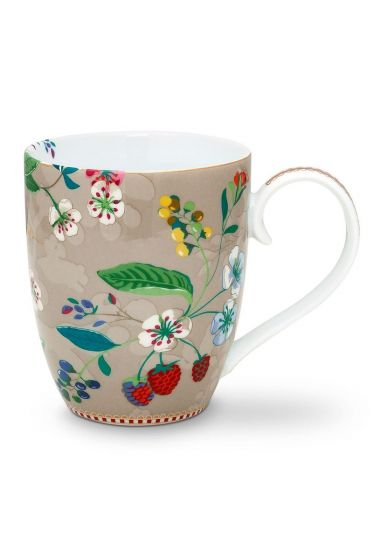 Floral Tasse XL Hummingbirds Khaki