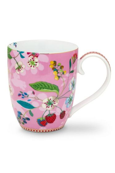 Floral mok XL Hummingbirds Roze