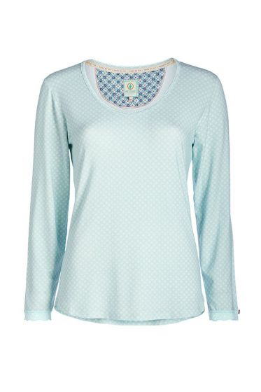 Long sleeve lace top blue