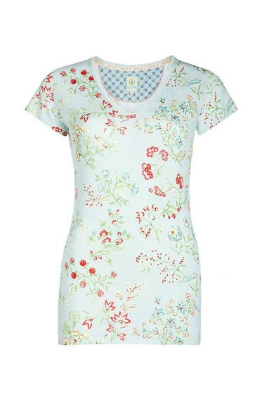 Short sleeve top Jaipur Flower blue