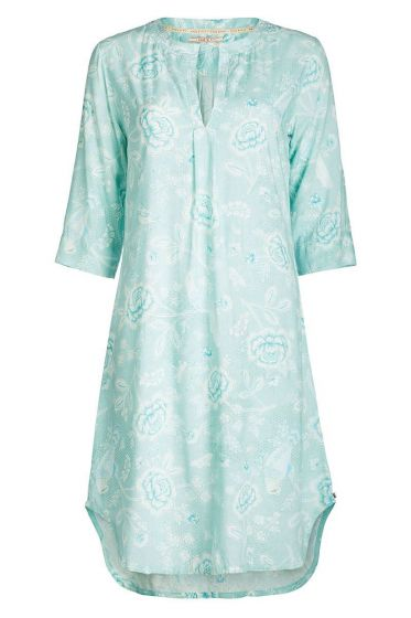 Nightdress 3/4 sleeve Indian Roses blue