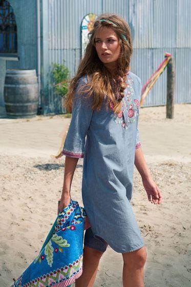 Kleid mit dreiviertel Ärmeln Chambray blau