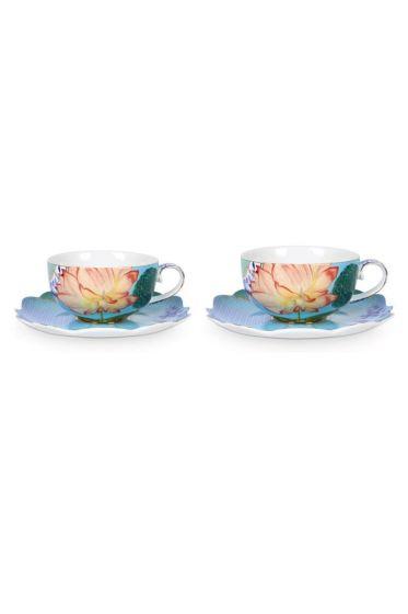Royal Set/2 Tea Cups & Saucers Flowers