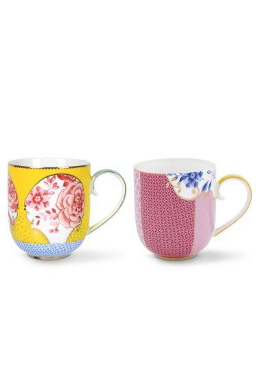 Royal Set/2 Mugs Large Yellow/Pink