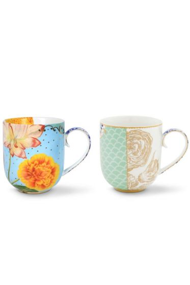Royal Set/2 Mugs Large Blue/Flowers