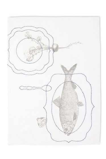 Tea Towel Royal Fish White