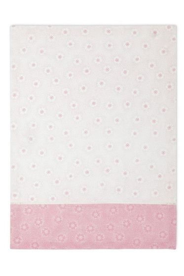 Floral Theedoek Dotted Flower Roze