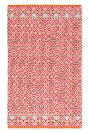 Beach Towel Star Check pink
