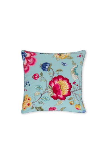 Sierkussen vierkant Floral Fantasy oceaanblauw