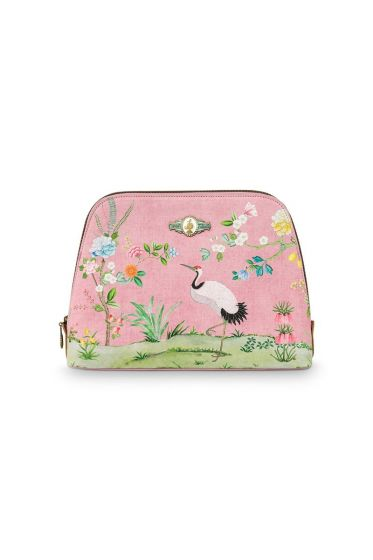 Cosmetic Bag Triangle Large Floral Good Morning Pink