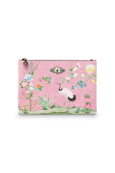 Flaches Necessaire groß Floral Good Morning Rosa