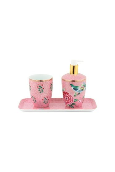 Set von Badezimmeraccessoires Floral Good Morning Rosa