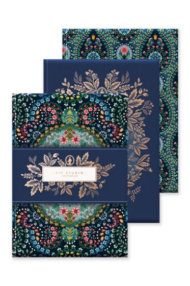 Set of 3 Notebooks A6 Moon Delight Blue